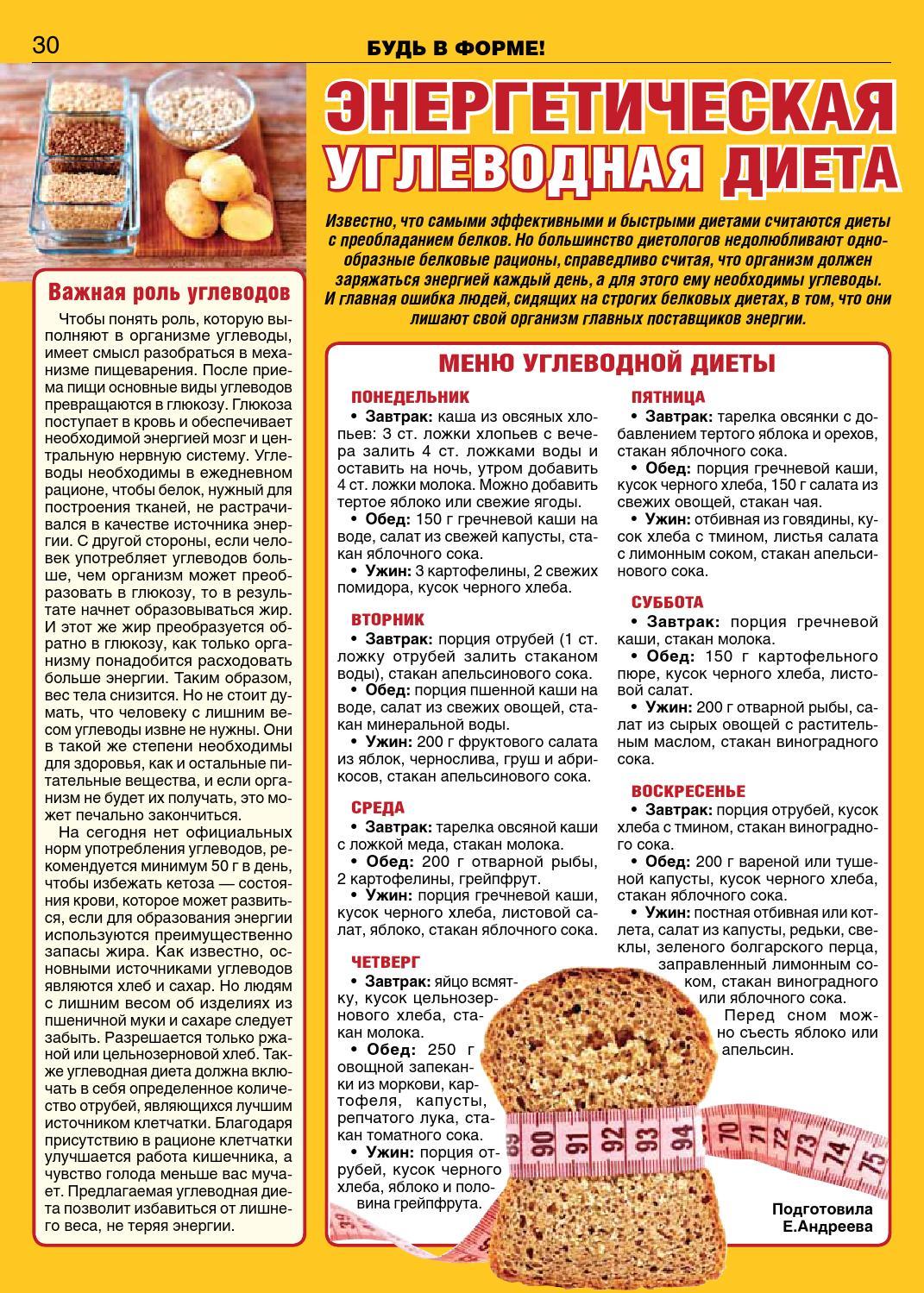 Пример безуглеводной диеты