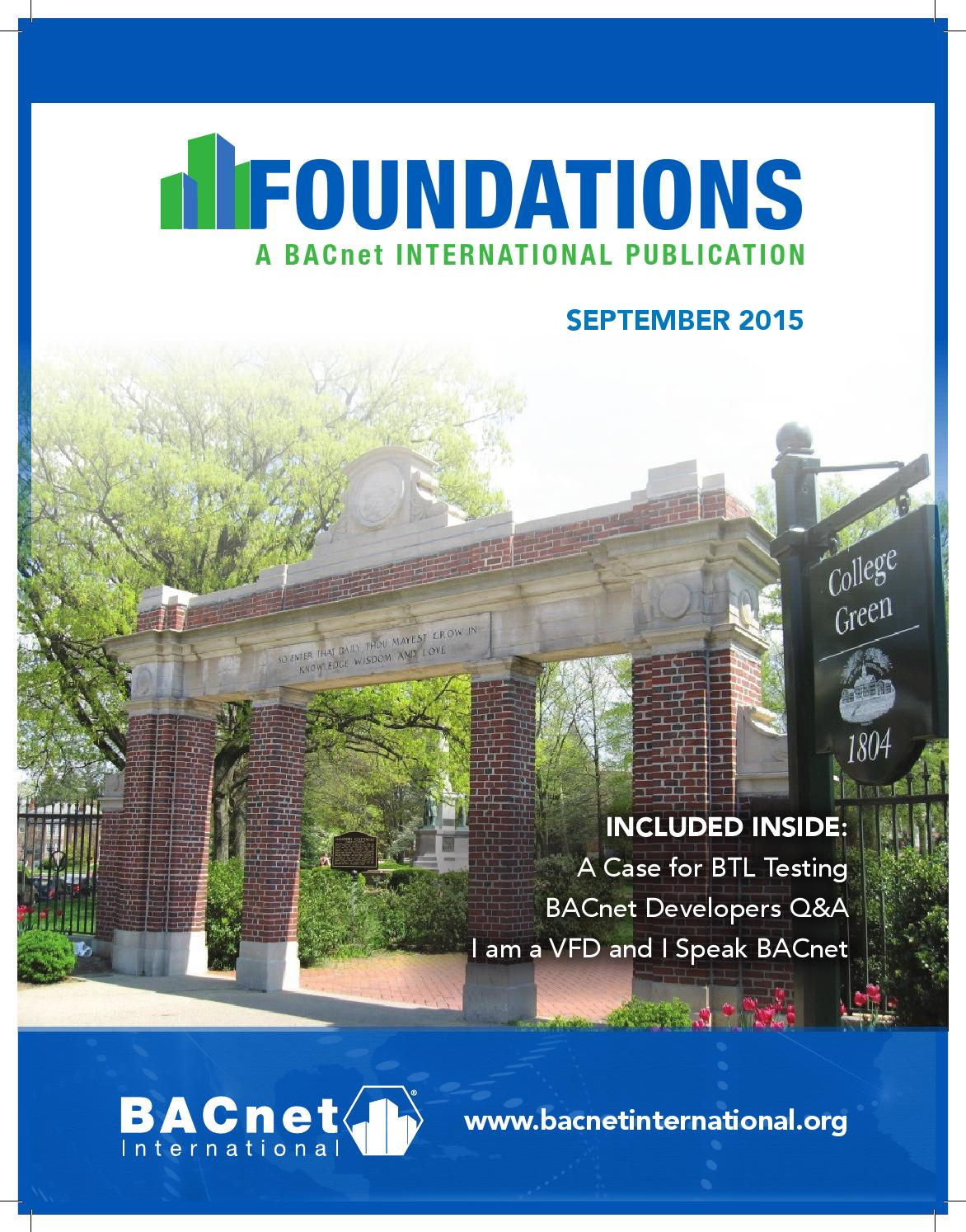 Foundations September 2015 By Bacnet International Issuu Votage Wiring