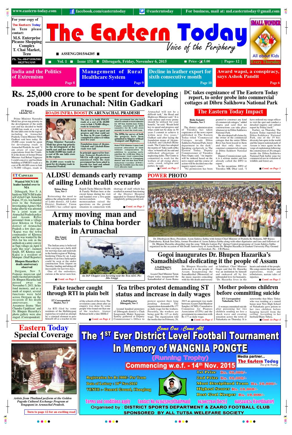 6th nov 2015 by THE EASTERN TODAY - issuu