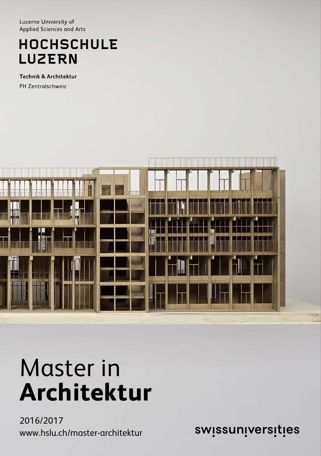 Studienf hrer master architektur 2016 2017 by hochschule for Master architektur