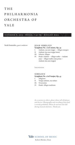 2015 11 06 sibelius issuu by Yale School of Music - issuu