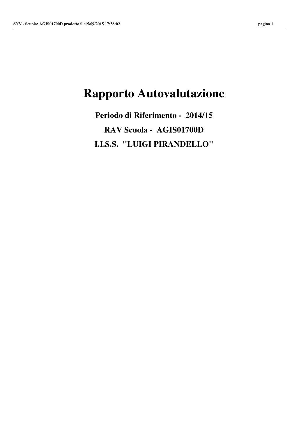 """Rapporto Autovalutazione Scuola I I S S """"LUIGI PIRANDELLO"""" By"""