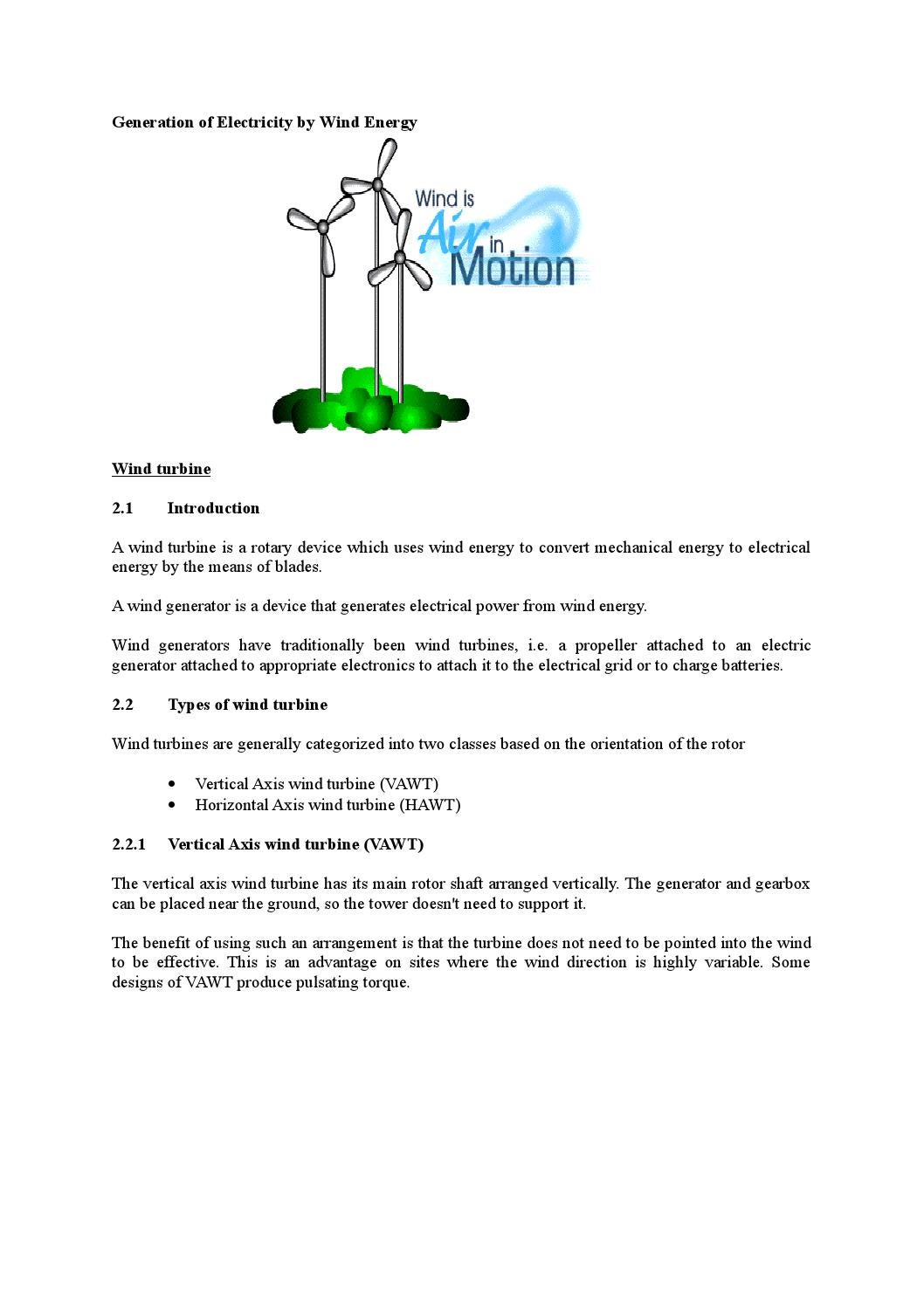 Generation Of Electricity By Wind Energy Md Papon Issuu Turbine Diagram Hawt Horizontal V Vawt Vertical