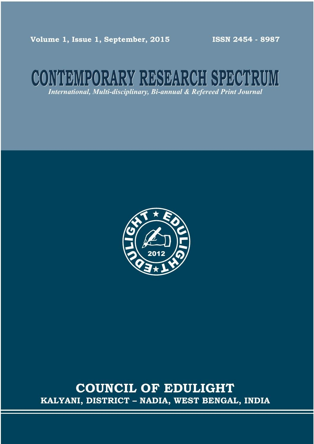 Contemporary Research Spectrum Refereed Journal Issue 1 Volume With An External Amplifier You Need To Supply A Speakers Sp2003 Sept 2015 By Ajit Mondal Issuu