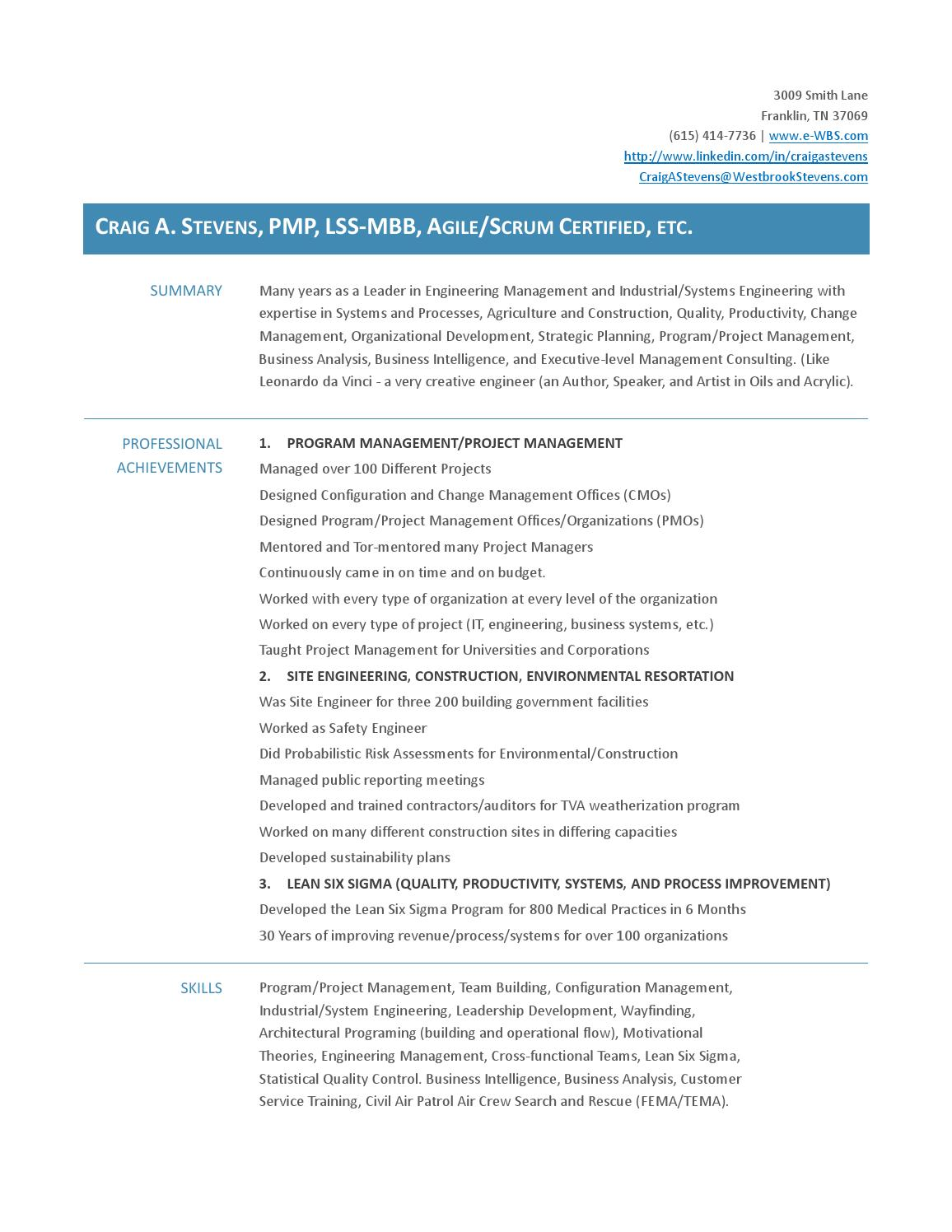 20151029 stevens two pager engineering resume by Craig Stevens - issuu