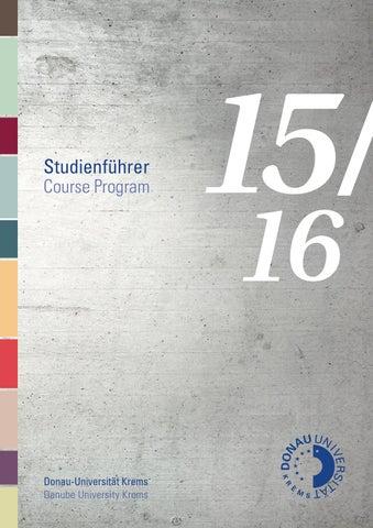 Studienführer 2015/16 by Donau-Universität Krems - issuu