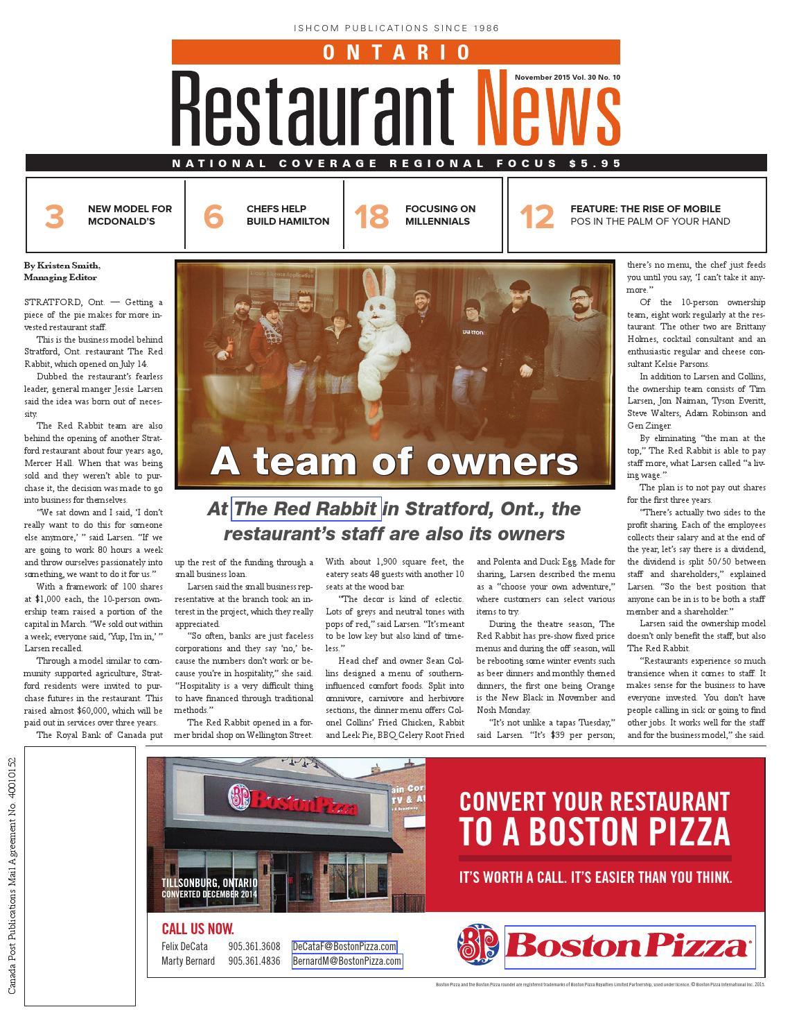 Ontario Restaurant News - November 2015 by Ishcom Publications - issuu