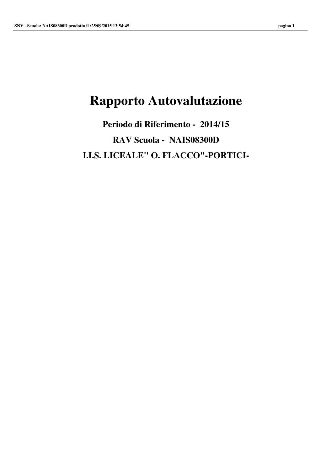 Rapporto Autovalutazione Scuola L CL ORAZIO FLACCO PORTICI By