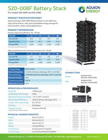 Aquion energy s20 008f product specification sheet by SOLAR