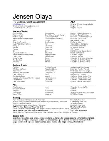 Jensen Olaya Actor Resume By Jensen Olaya