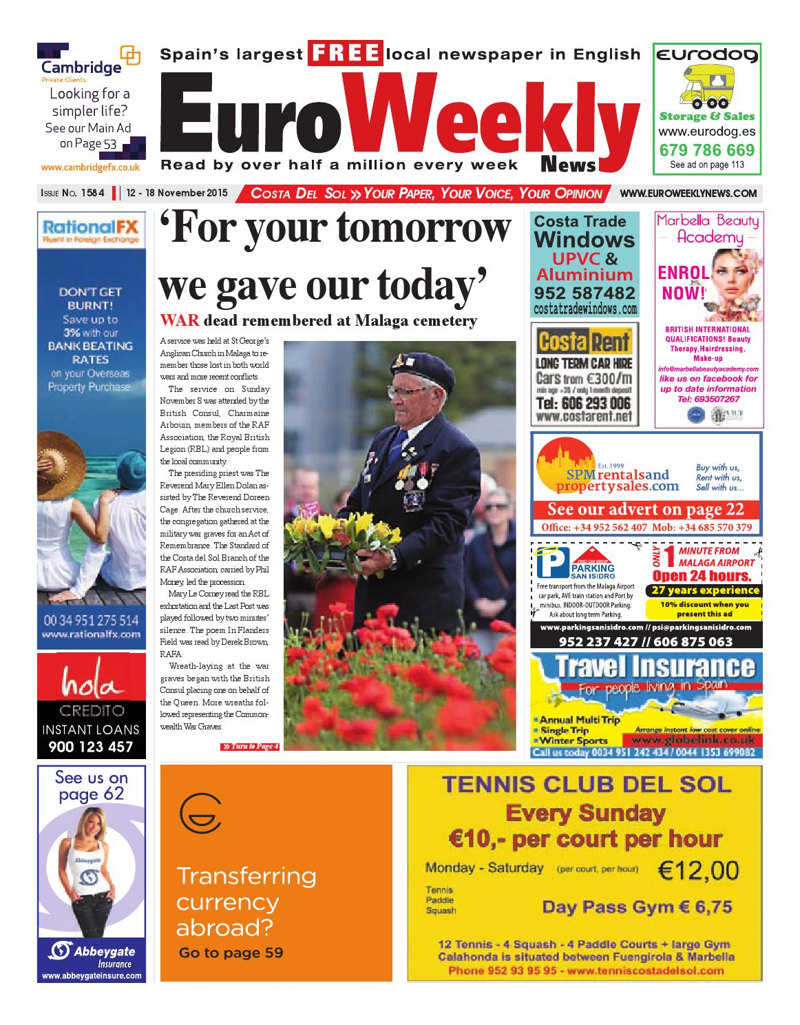 Euro Weekly News Costa Del Sol 12 18 November 2015 Issue 1584  # Rogelio Muebles San Rafael