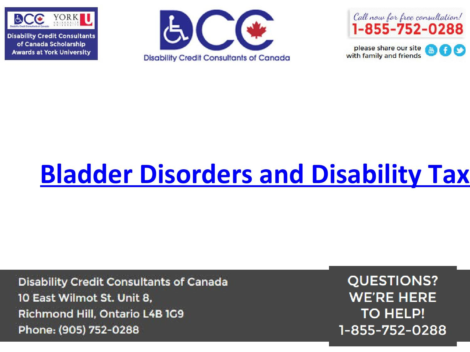 Bladder Disorders Is A Disease That Included In Canadian Disabilities Tax Credits List