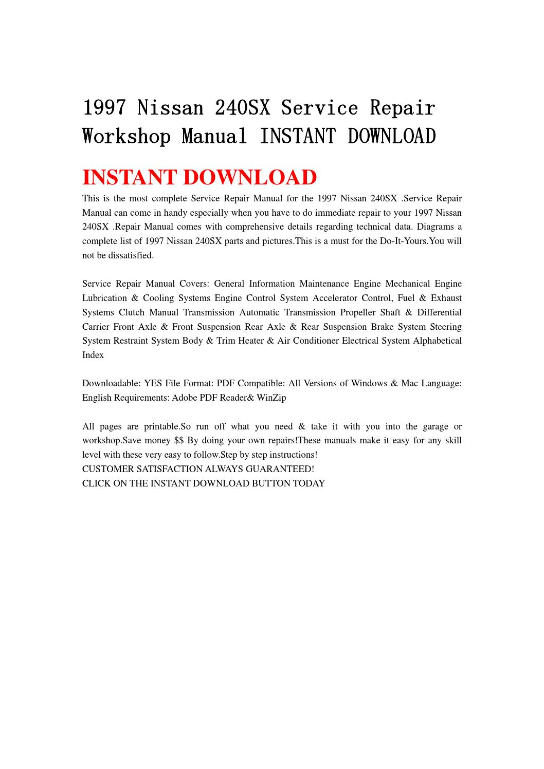 1997 nissan 240sx service repair workshop manual instant download by  ksjfhjse - issuu