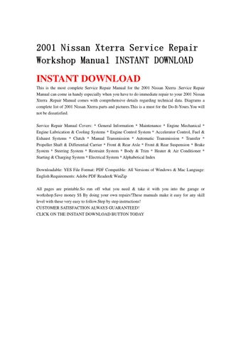 2001 nissan xterra service repair workshop manual instant download rh issuu com 2001 nissan xterra service manual pdf Nissan Xterra Camper