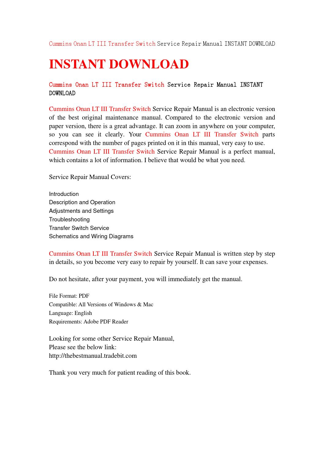 cummins onan lt iii transfer switch service repair manual instant download  by jshjfneh34 - issuu