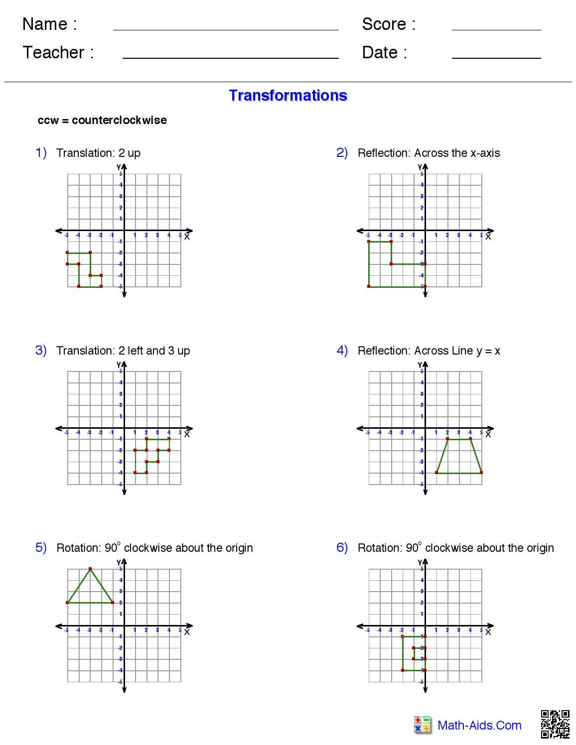Transformations Work Sheet From Math Aids Com By Morgan