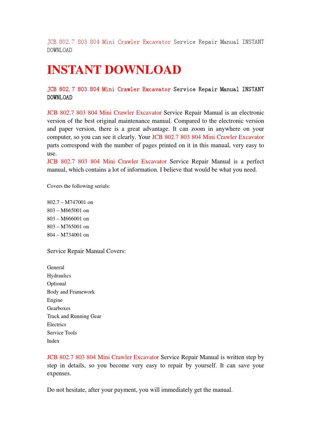 Jcb 802 7 803 804 mini crawler excavator service repair manual instant  download by jshjfneh34 - issuu