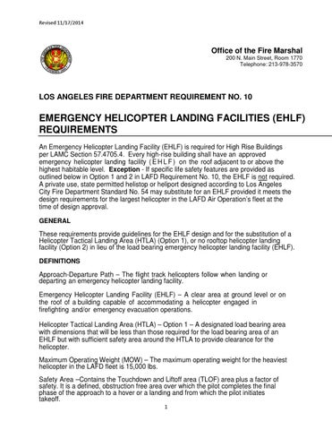 Emergency Helicopter Landing Facilities (EHLF) Requirements by Los