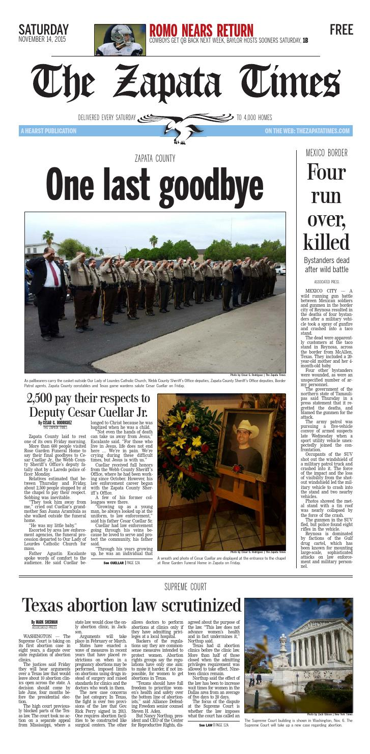 The zapata times 11 14 2015 by the zapata times issuu - Rose garden funeral home zapata tx ...
