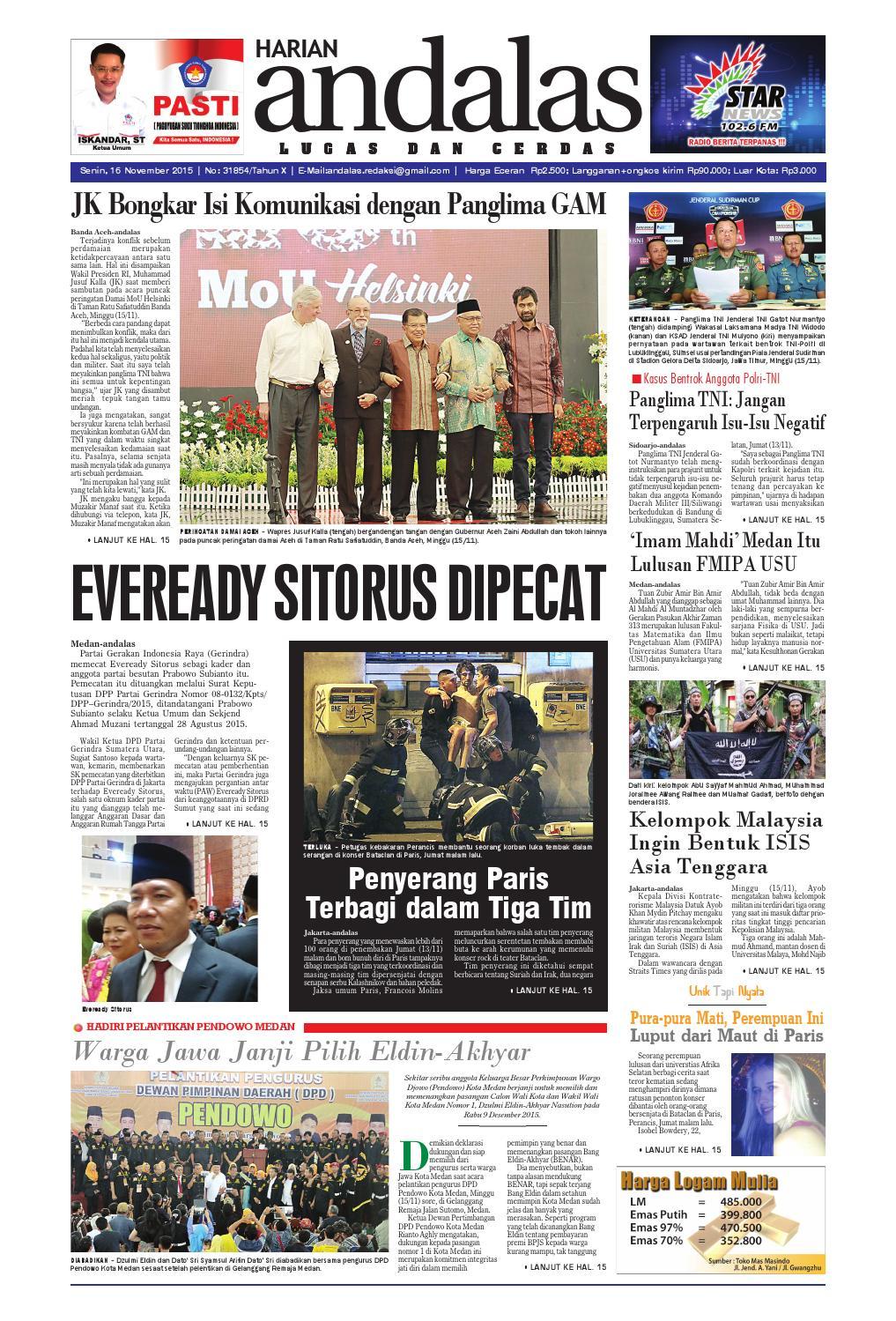 Epaper Andalas Edisi Senin 16 November 2015 By Media Issuu Dat Arini Tenun Maroon Blue Ballerina