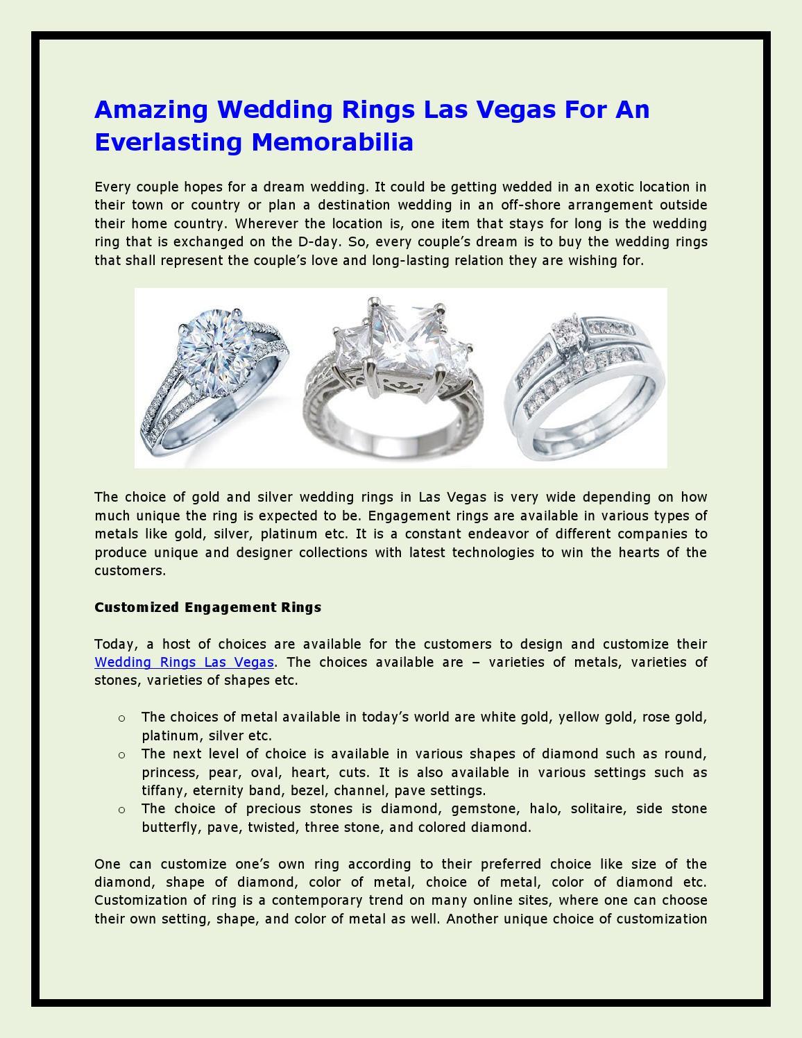 Amazing Wedding Rings Las Vegas For An Everlasting Memorabilia By Zaragoza Jewelers Issuu