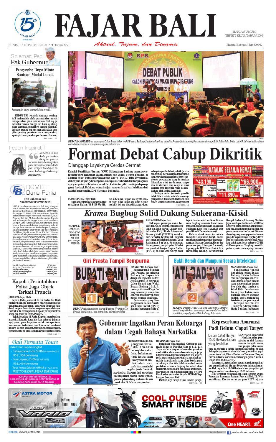 FAJAR BALI EDISI 16 NOVEMBER 2015 by hu fajarbali - issuu