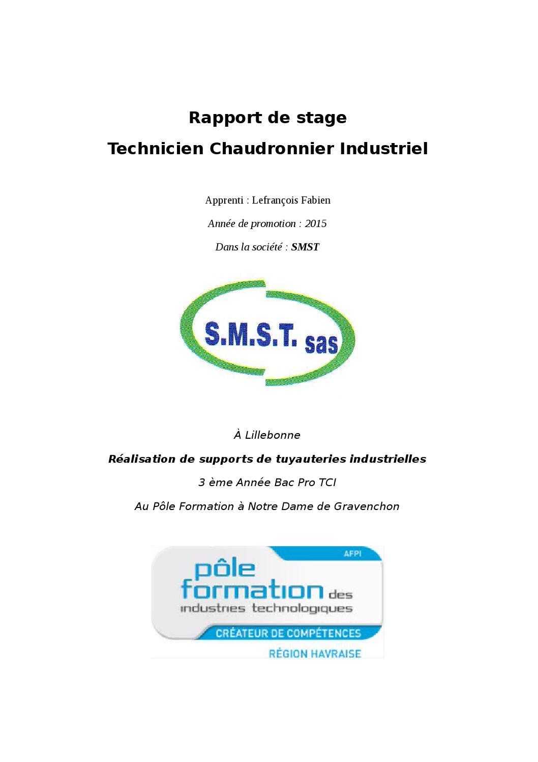 Rapport De Stage Technicien Chaudronnerie Industriel By