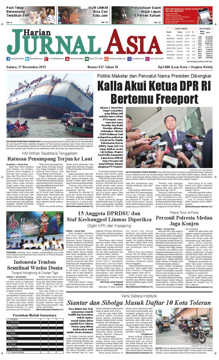 Harian Jurnal Asia Edisi Selasa 17 November 2015 By Produk Ukm Bumn Segi Empat Leopard Medan Issuu