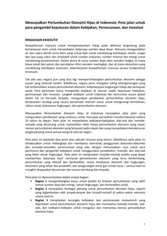 Executive Summary Green Growth Roadmap Bahasa By Government Of Indonesia Gggi Green Growth Program Issuu