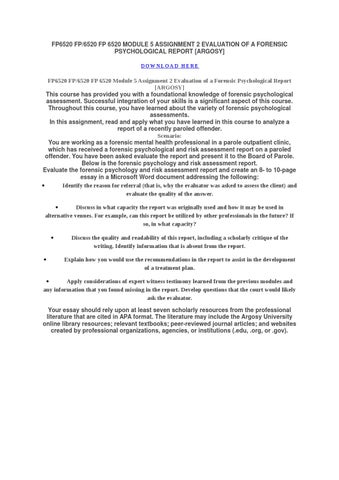 Fp/6520 fp 6520 module 5 assignment 2 evaluation of a forensic ...