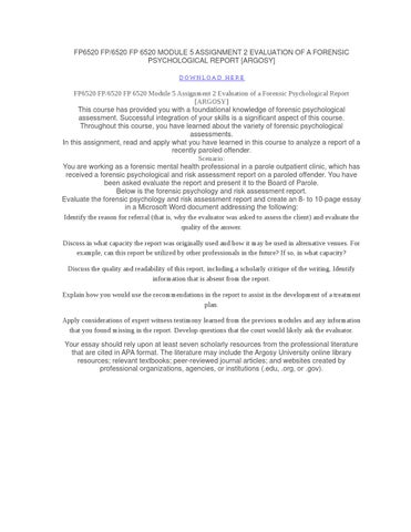 Fp6520 fp 6520 module 5 assignment 2 evaluation of a forensic ...