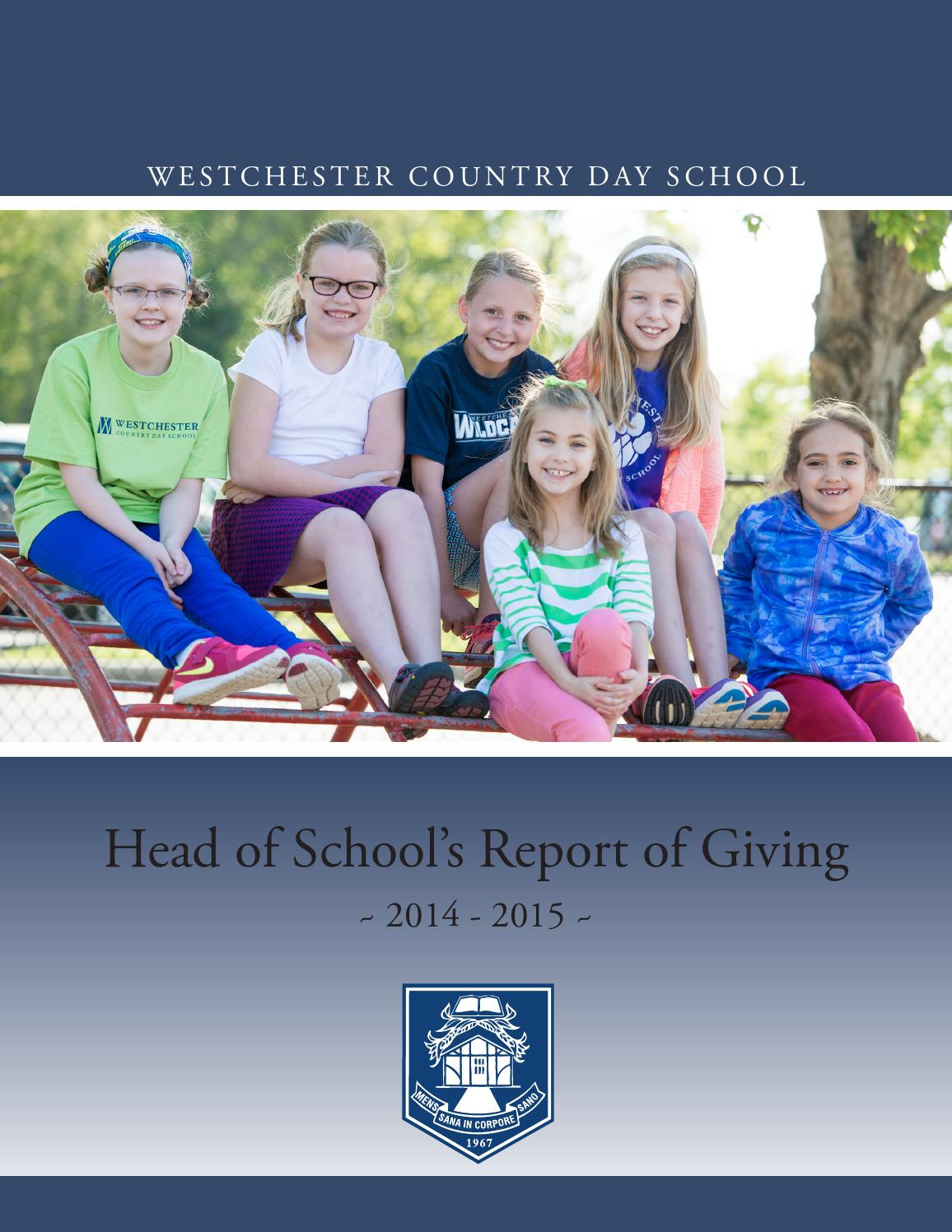 Head of School's Report 14-15 by Westchester Country Day