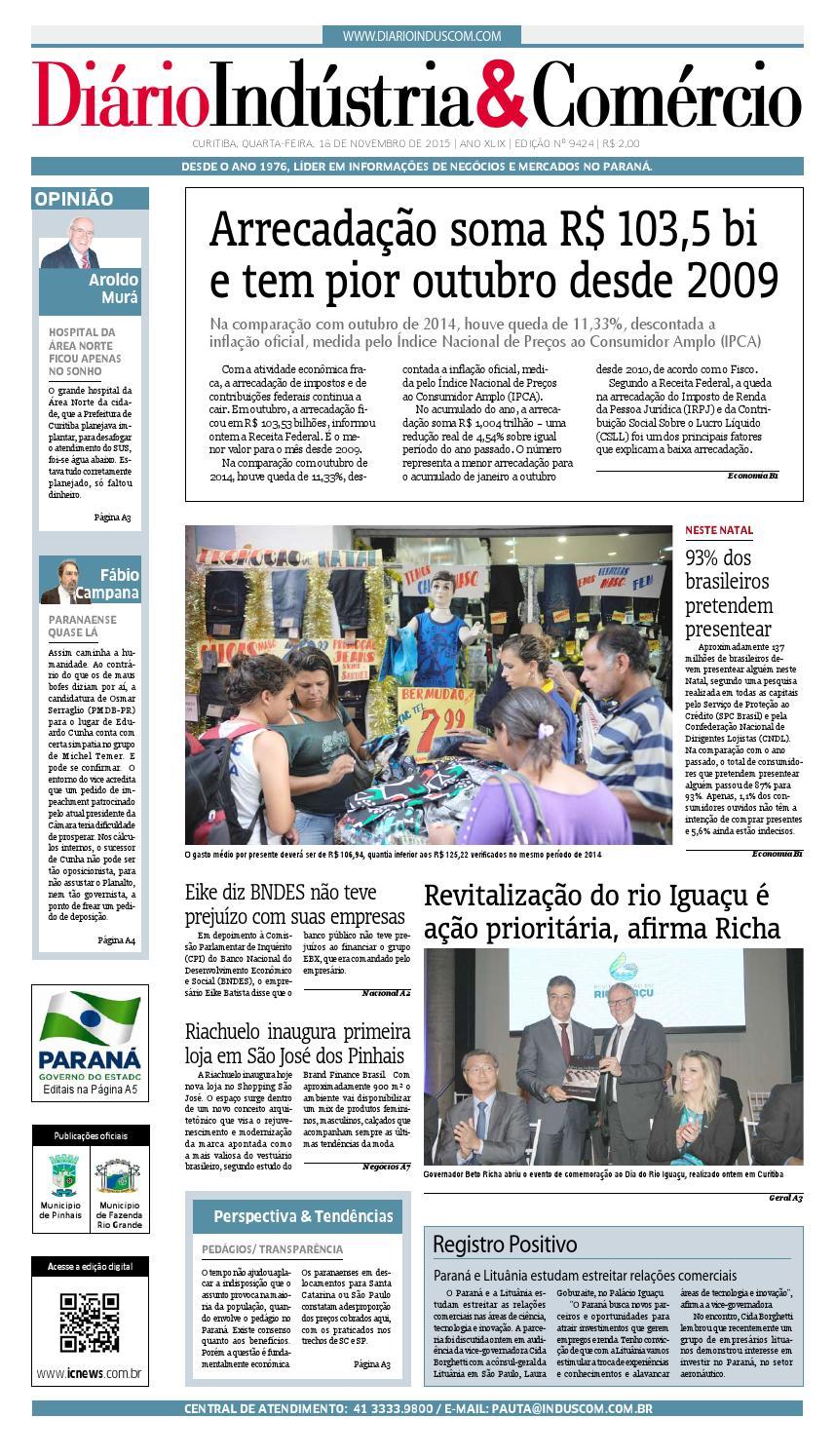bf3711e9b Diário Indústria Comércio - 18 de novembro de 2015 by Diário Indústria    Comércio - issuu