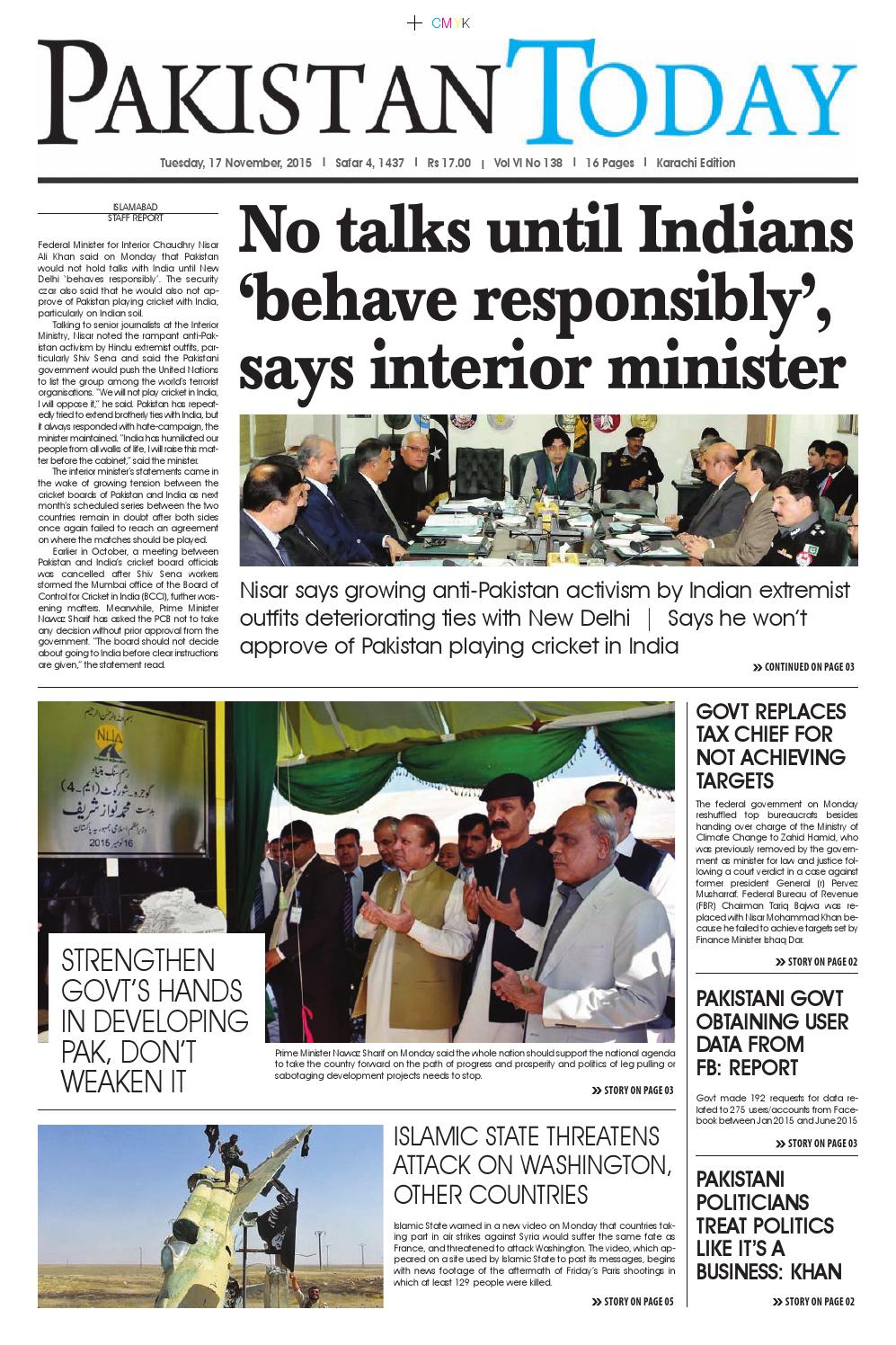 E paper pdf (17 11 2015) khi by Pakistan Today - issuu