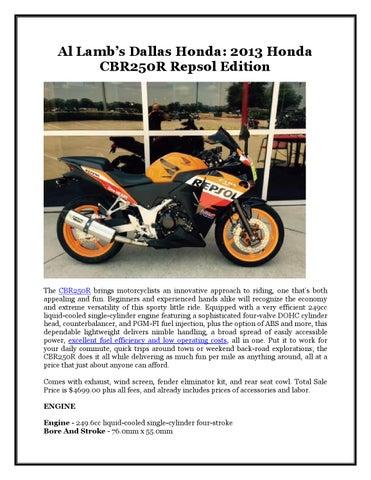 2013 Honda Cbr250r Repsol Edition By Francine Quintanilla Issuu
