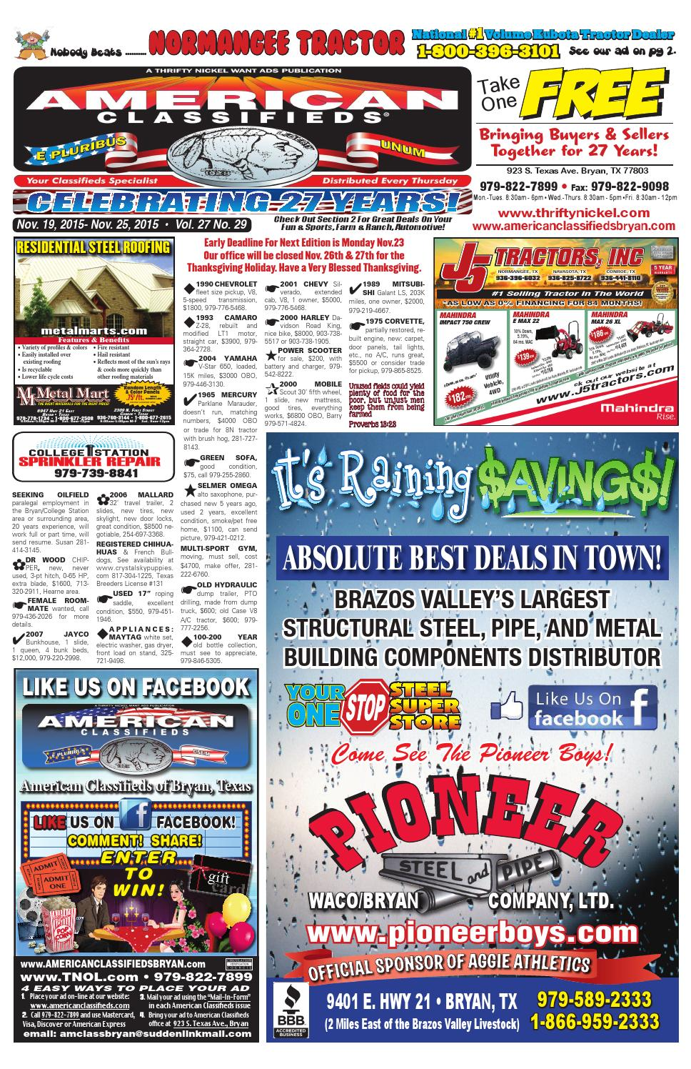 American Classifieds Nov. 19th Edition Bryan/College Station by ...