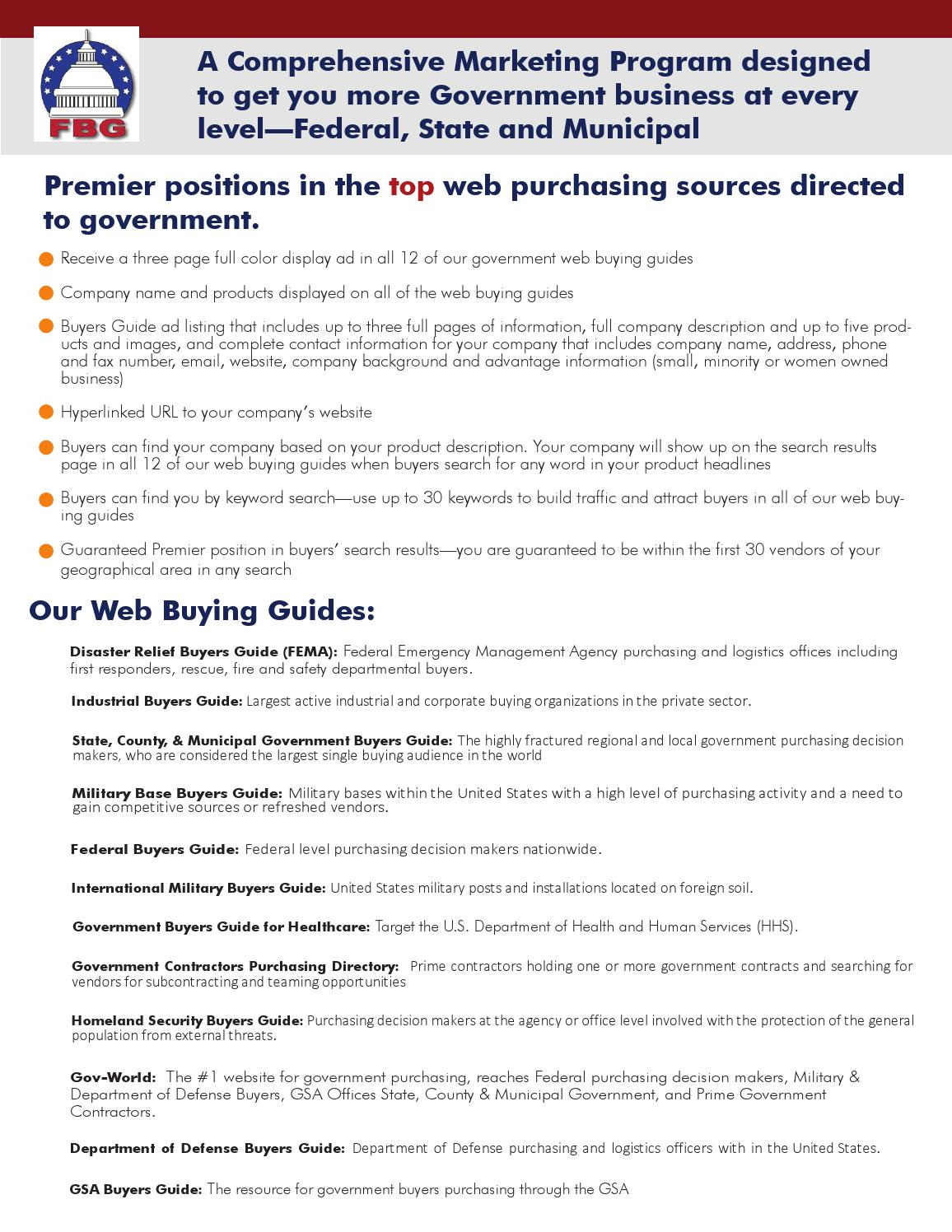 Comprehensive Marketing Package by Federal Buyers Guide, inc
