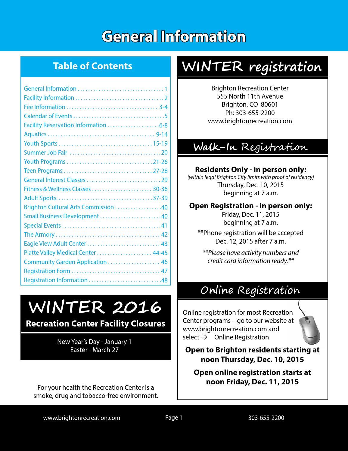 Activity Calendar Teen Center Registration 118