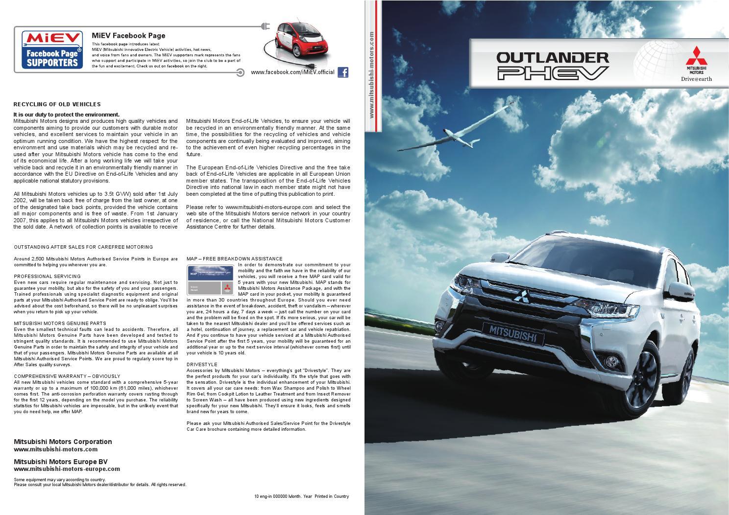 2016 Mitsubishi Outlander PHEV - Europe Brochure - Bob Smith