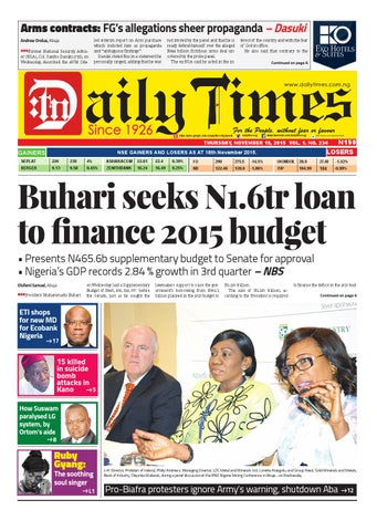 275c6ba4bc8 Dtn 19 11 15 by Daily Times of Nigeria - issuu