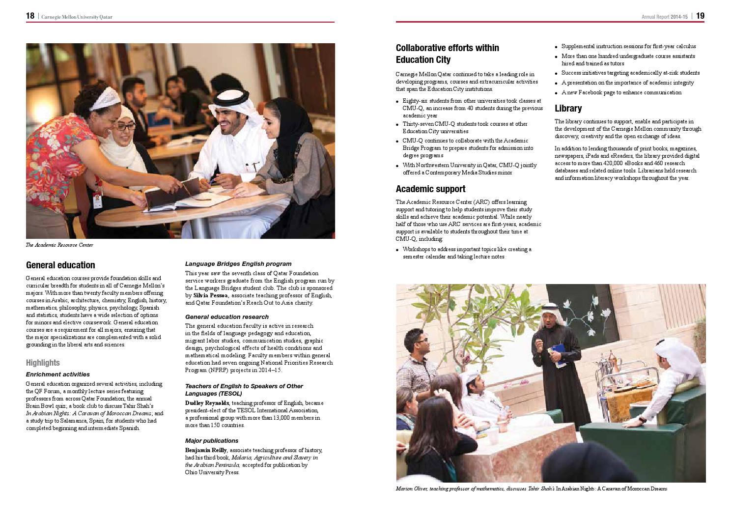 Cmu Academic Calendar.Carnegie Mellon Qatar Annual Report For 2014 2015 By Carnegie Mellon