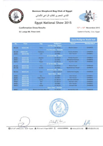 Egypt National Show Results - Zero Pedigree by German