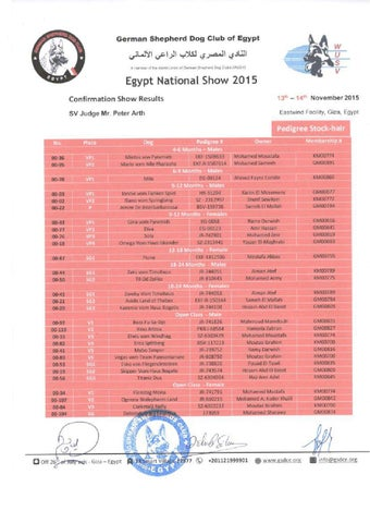 Egypt National Show Results - Full Pedigree by German