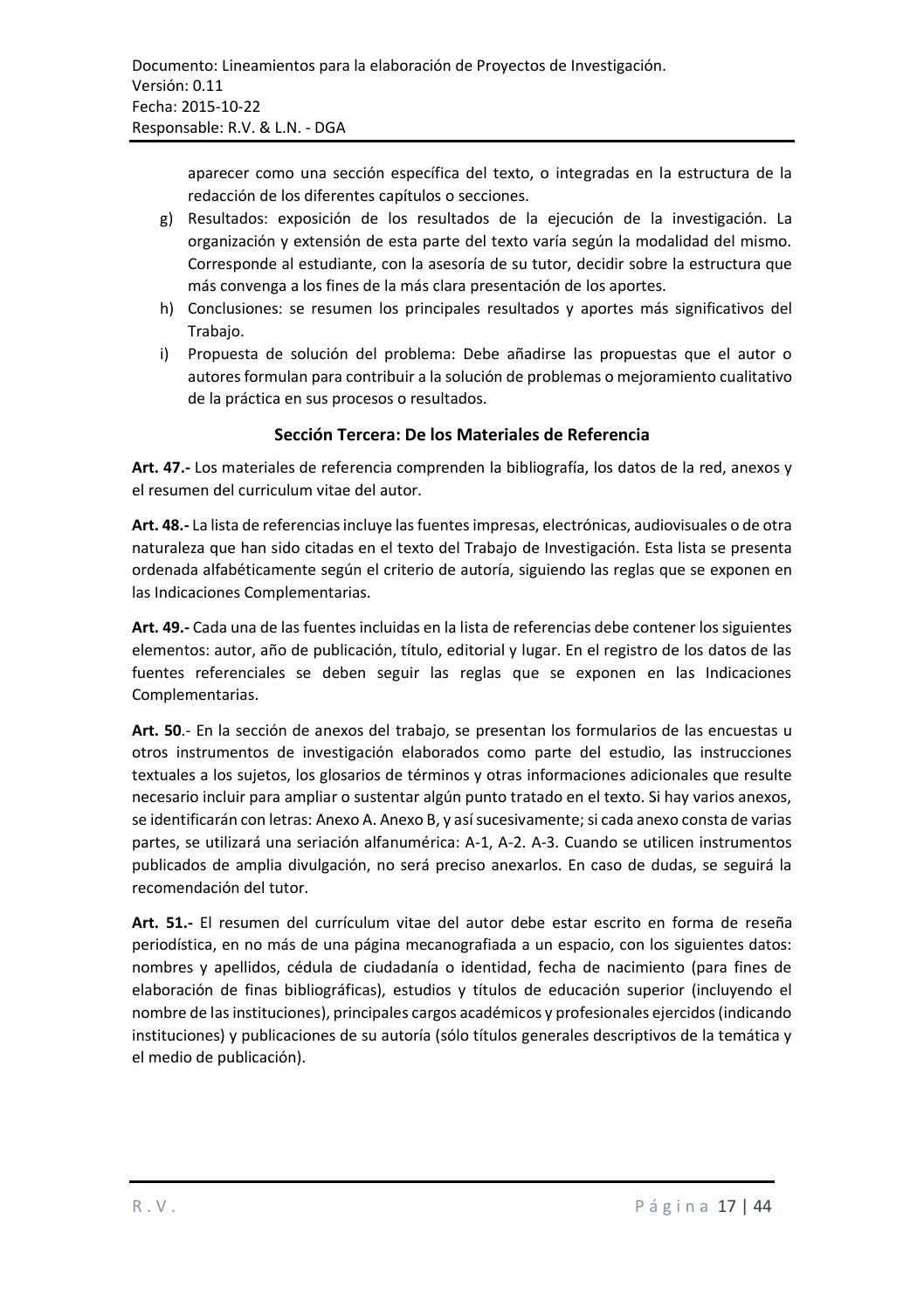 Lineamientos para la elaboración del proyecto de investigación0 9 ...