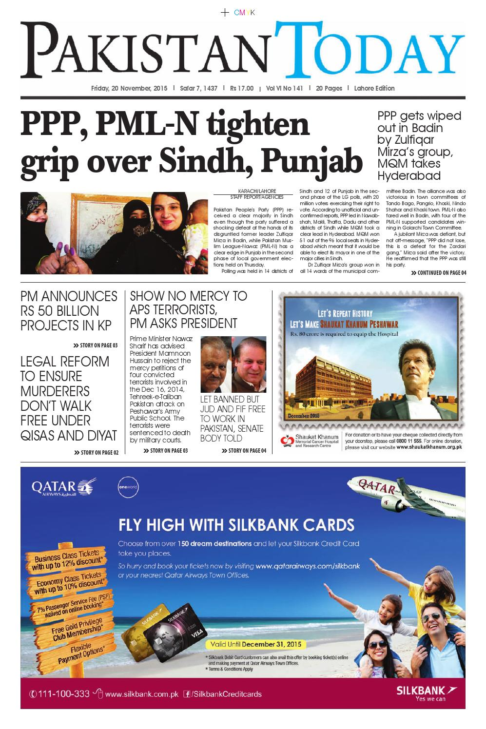 E paper pdf (20 11 2015) (lhr) by Pakistan Today - issuu