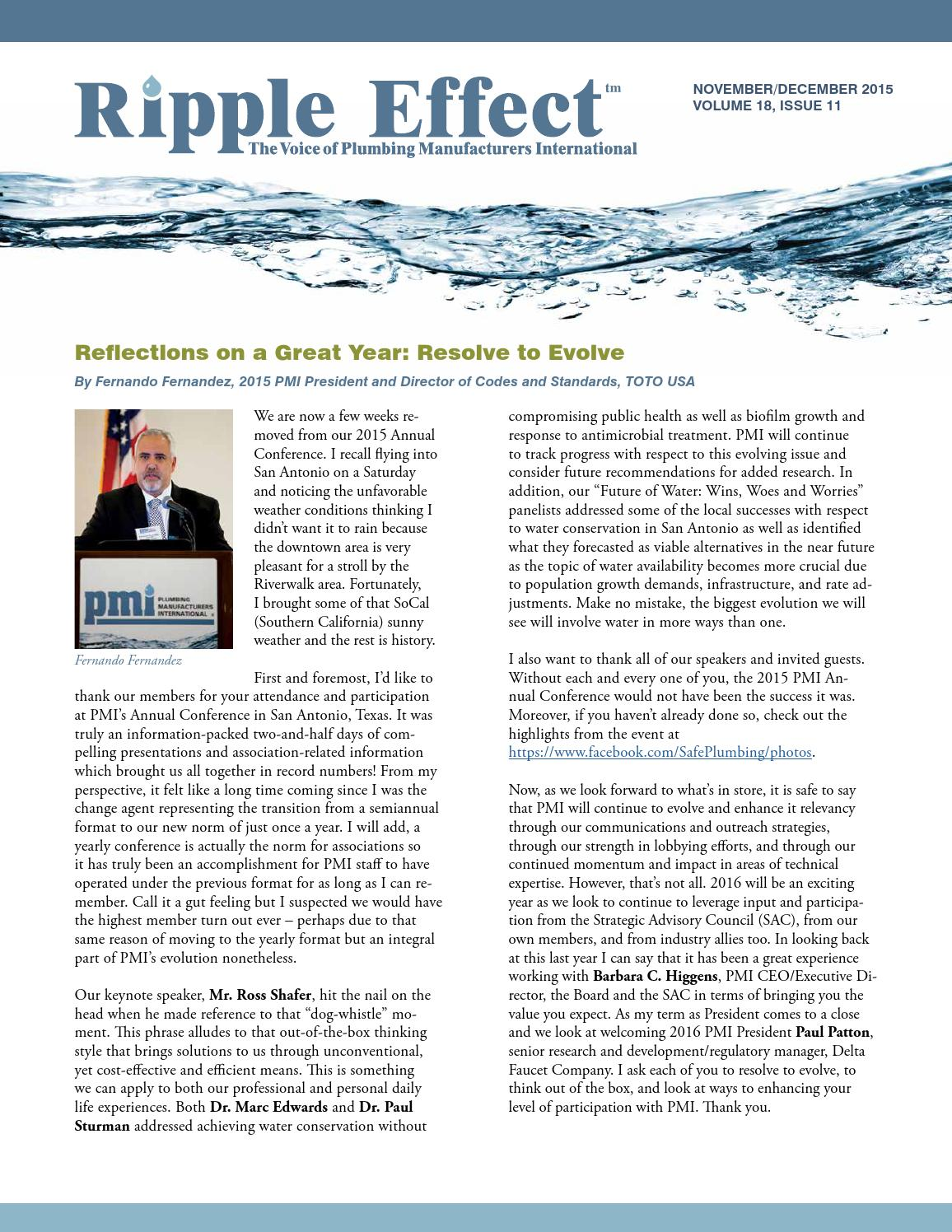Ripple Effect Nov/Dec 2015 by Plumbing Manufacturers International ...