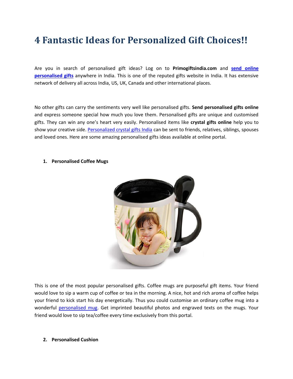 4 Fantastic Ideas For Personalized Gift Choices By Primo Gifts India Issuu