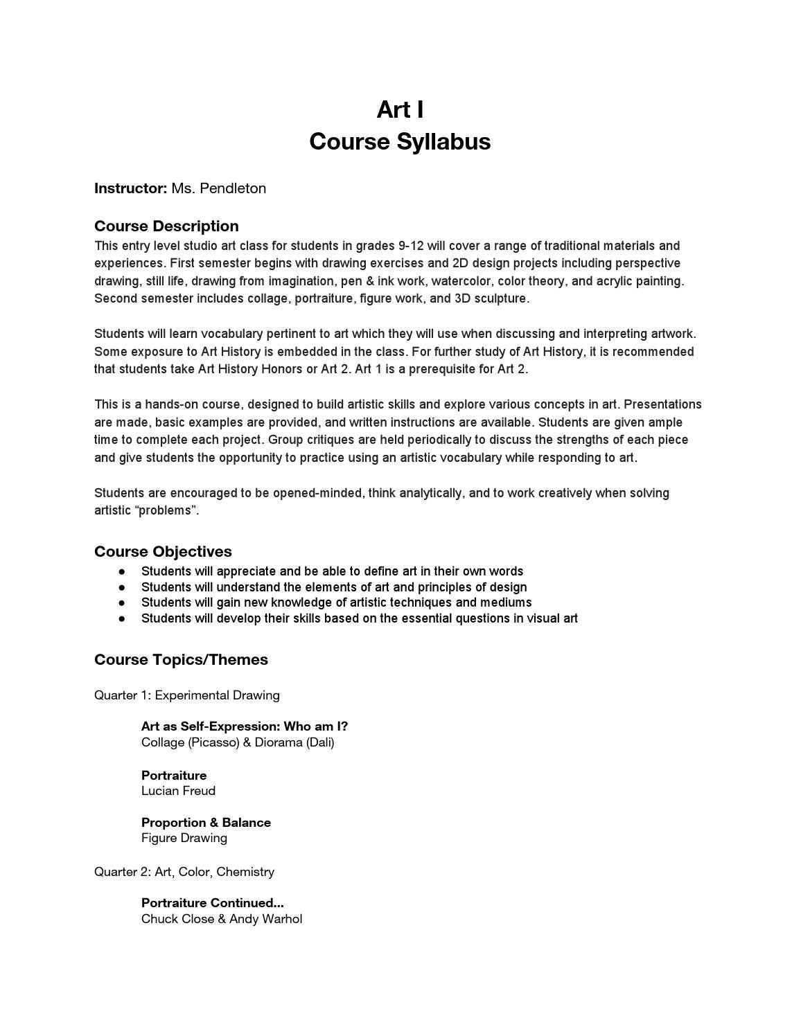 Art 1 Syllabus By Megan Pendleton Issuu