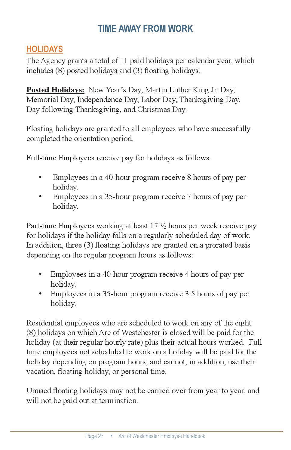 Employee Handbook 2015 by The Arc Westchester - issuu
