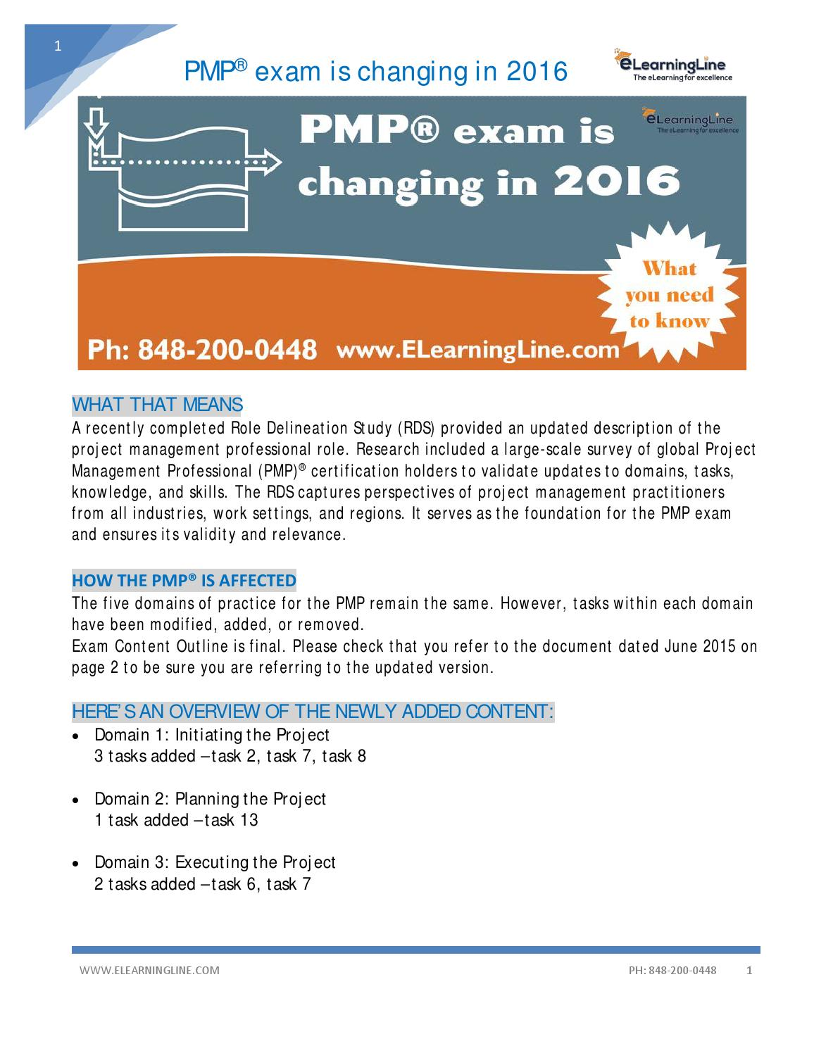 Pmp Exam Changing In 2016 By Elearningline Issuu